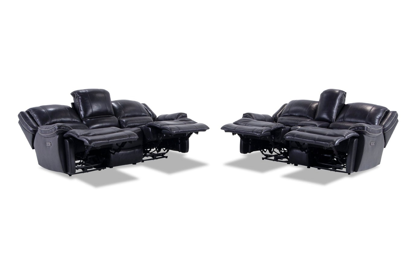Phoenix Power Reclining Black Leather Sofa and Console Loveseat