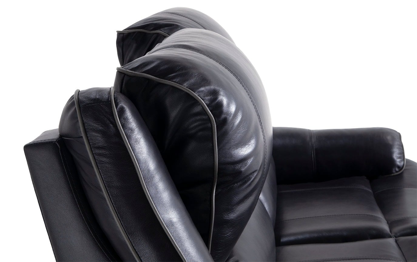 Phoenix Black Leather Power Reclining Loveseat