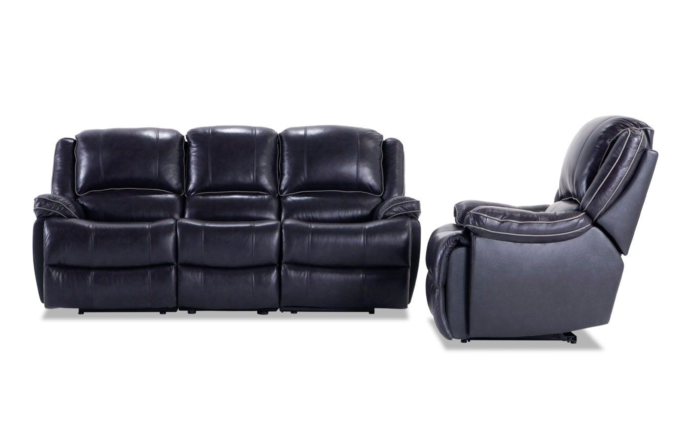 Phoenix Power Reclining Black Leather Sofa and Recliner