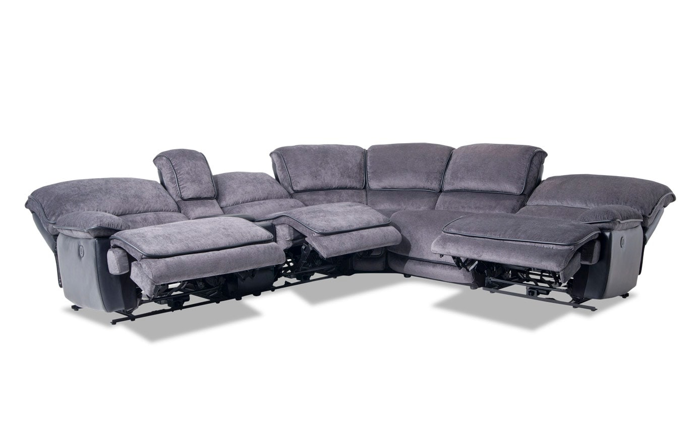 Dawson Gray 6 Piece Power Reclining Sectional With Armless Recliner