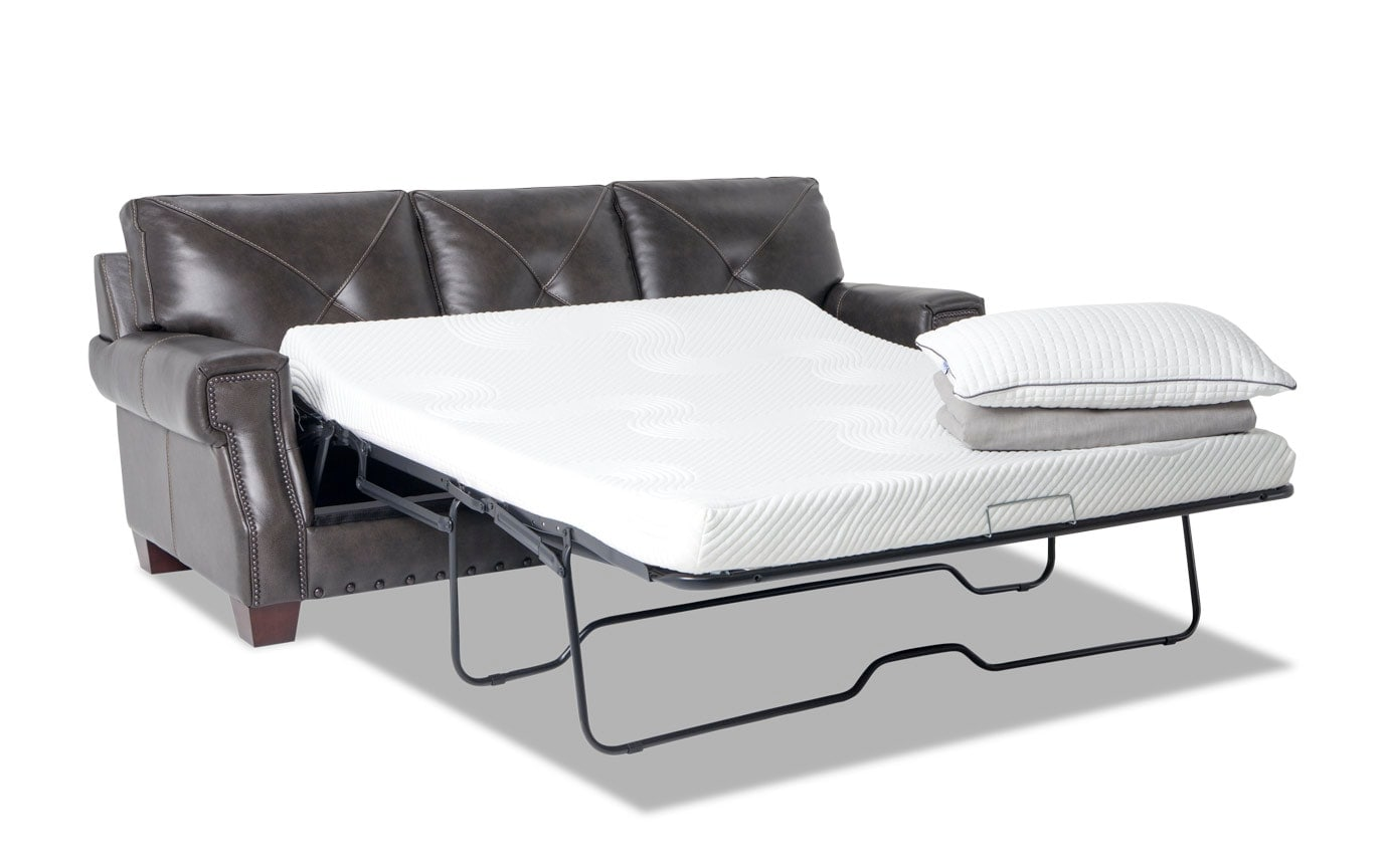 Kennedy Gray Leather Bob-O-Pedic Gel Queen Sleeper & Chair