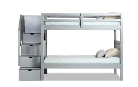 Keystone Twin Gray Stairway Bunk Bed