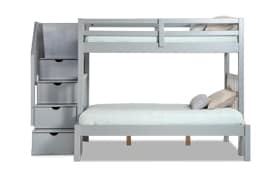 Keystone Stairway Twin/Full Gray Bunk Bed