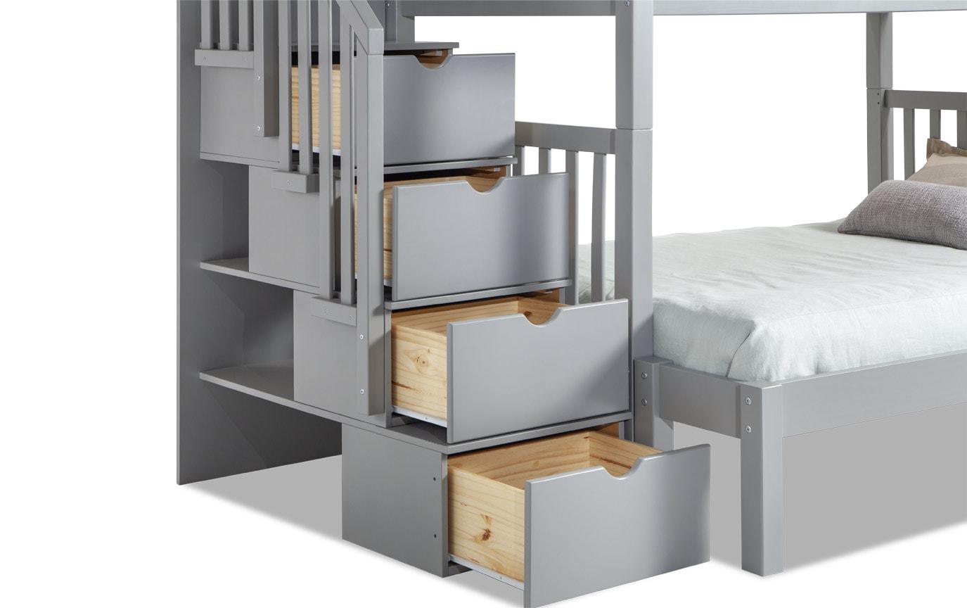 Keystone Stairway Twin/Full Gray Bunk Bed