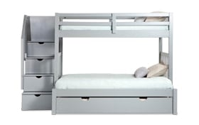 Keystone Twin/Full Gray Stairway Bunk Bed with Storage/Trundle Unit