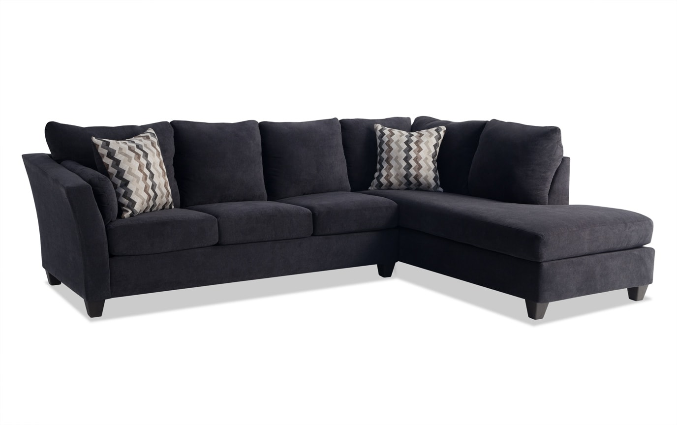 Virgo Black 2 Piece Left Arm Facing Sectional Bobs Com
