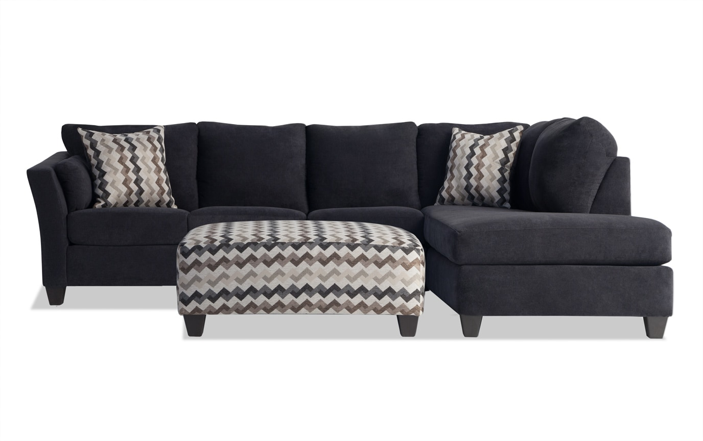 Virgo Black 3 Piece Left Arm Facing Sectional Bobs Com
