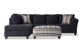 Virgo Black 3 Piece Right Arm Facing Sectional