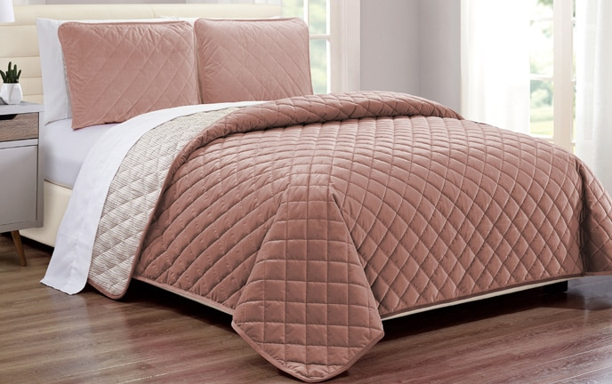 Blush Velvet Coverlet Set