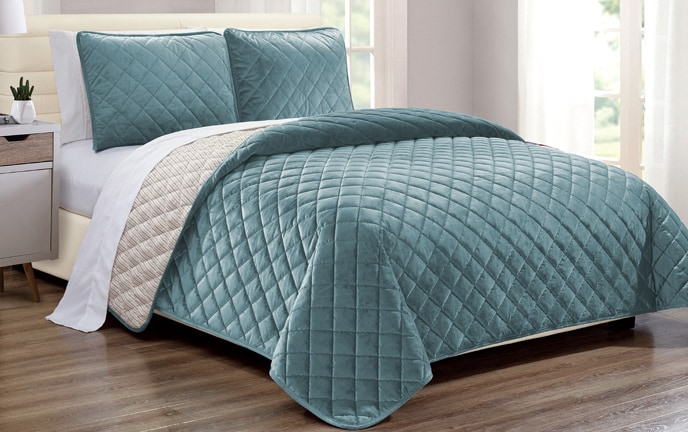 Teal Velvet Coverlet Set