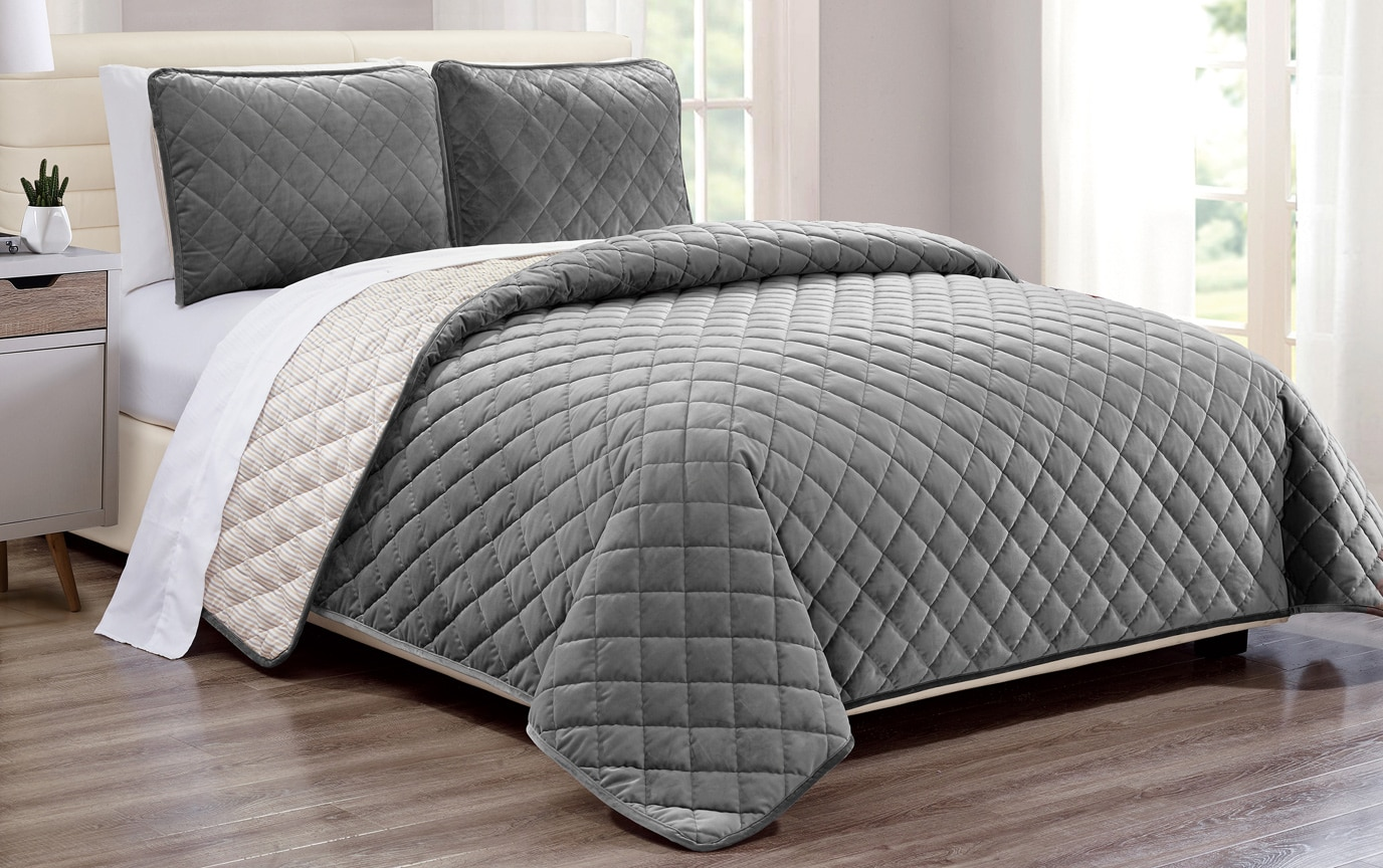 Gray Velvet Coverlet Set