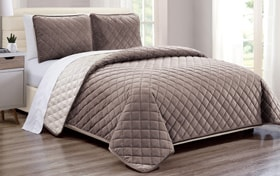 Taupe Full/Queen Velvet Coverlet Set