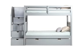Keystone Gray Stairway Bunk Bed With 2 Twin Perfection Innerspring Mattresses And Storage/Trundle Unit