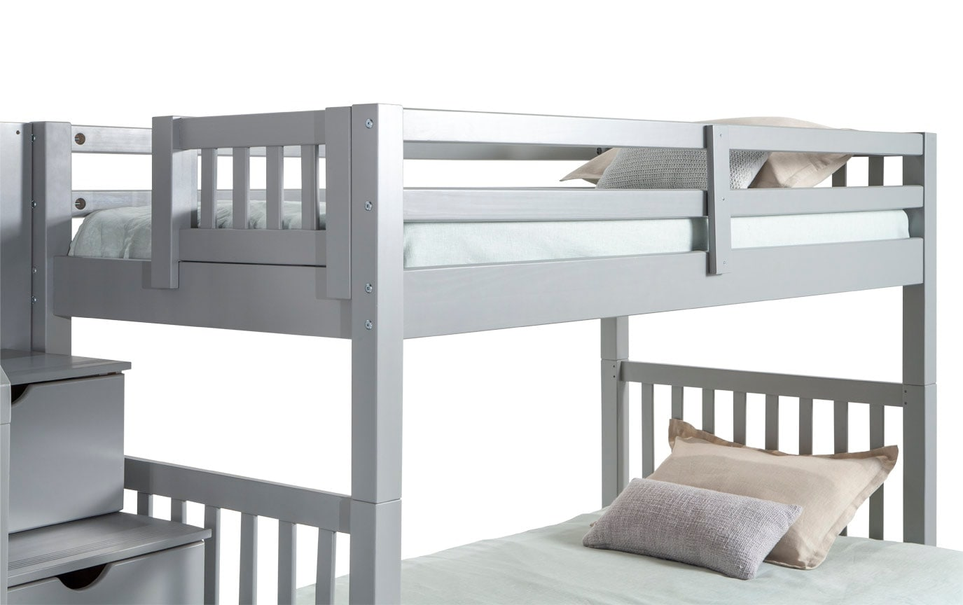 Keystone Gray Stairway Twin/Full Bunk Bed With Perfection Innerspring Mattresses And Storage/Trundle Unit
