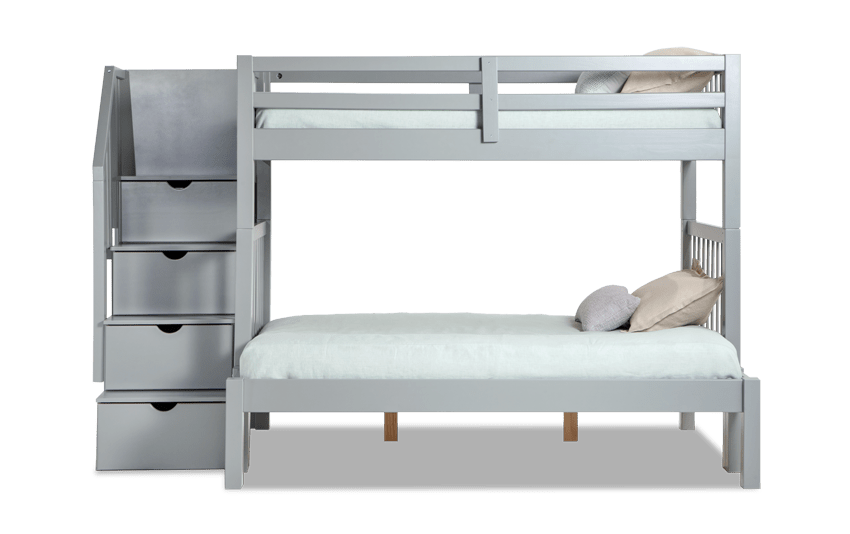 Keystone Gray Stairway Twin/Full Bunk Bed With Perfection Innerspring Mattresses