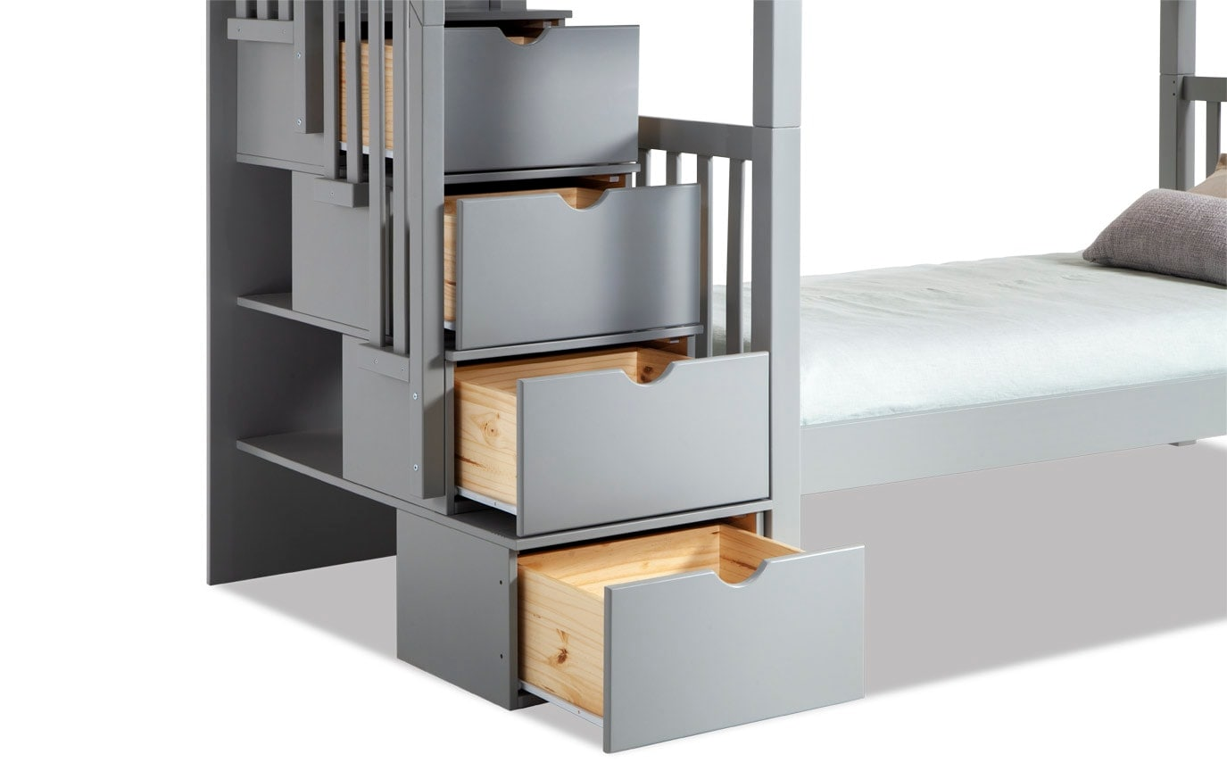 Keystone Gray Stairway Bunk Bed With 2 Twin Bob-O-Pedic 6 Memory Foam Mattresses