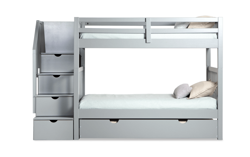 Keystone Gray Stairway Bunk Bed With 2 Twin Bob-O-Pedic 6 Memory Foam Mattresses And Storage/Trundle Unit