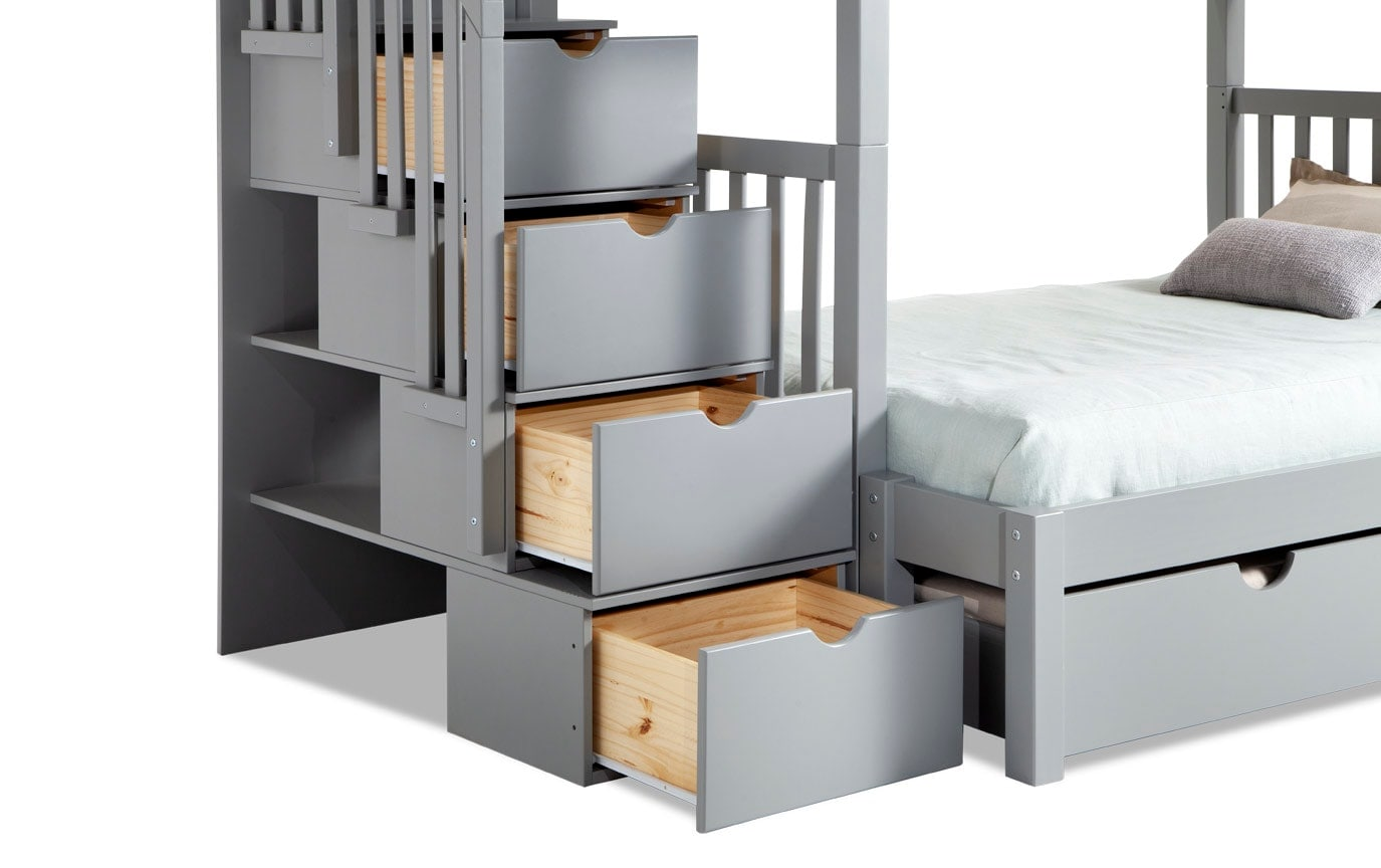 Keystone Stairway Twin/Full Gray Bunk Bed With Bob-O-Pedic 6 Memory Foam Mattresses And Storage/Trundle Unit