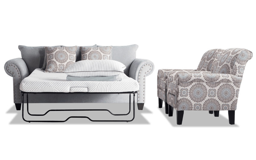 Artisan Blue Bob-O-Pedic Full Sleeper Sofa & 2 Accent Chairs