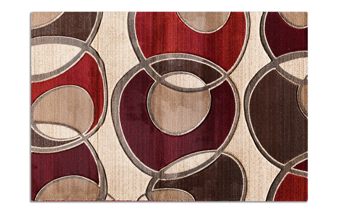 Beige & Red Loops Rug