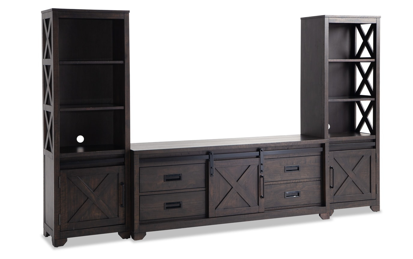 Montana Brown 3-pc. Wall Unit w/ 65'' TV Console