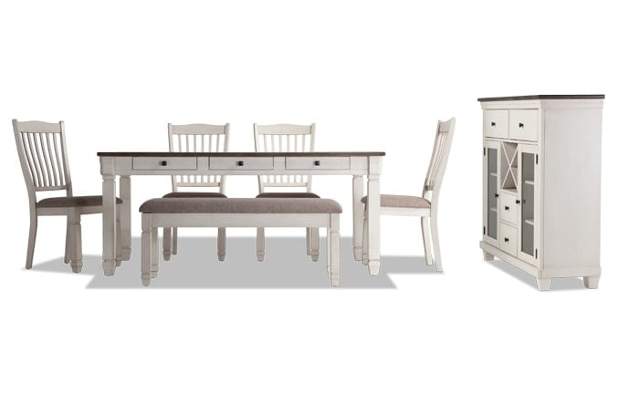 Savannah 7 Piece Dining Set With Storage Bench & Server