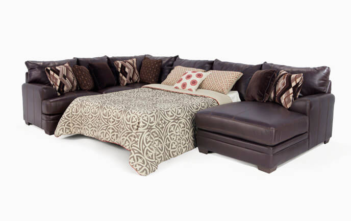 Ritz 4 Piece Left Arm Facing Bob-O-Pedic Queen Sleeper Sectional