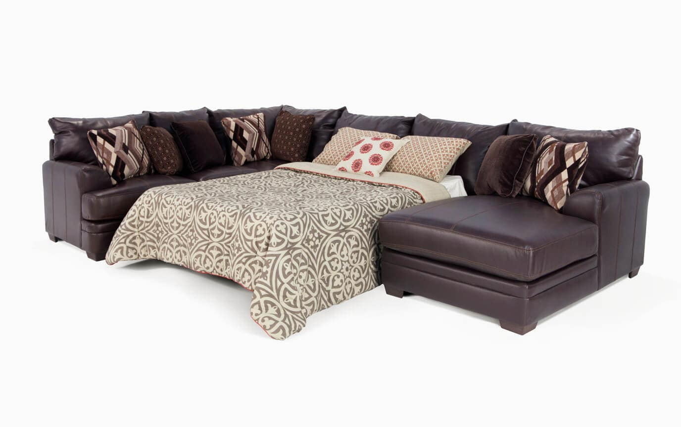 Ritz 4 Piece Bob-O-Pedic Left Arm Facing Queen Sleeper Sectional