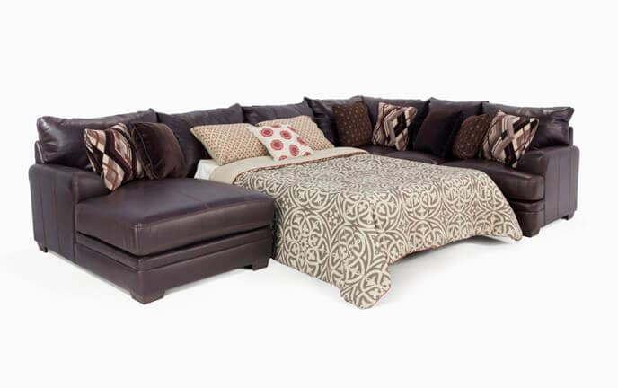 Merveilleux Ritz 4 Piece Right Arm Facing Bob O Pedic Gel Queen Sleeper Sectional