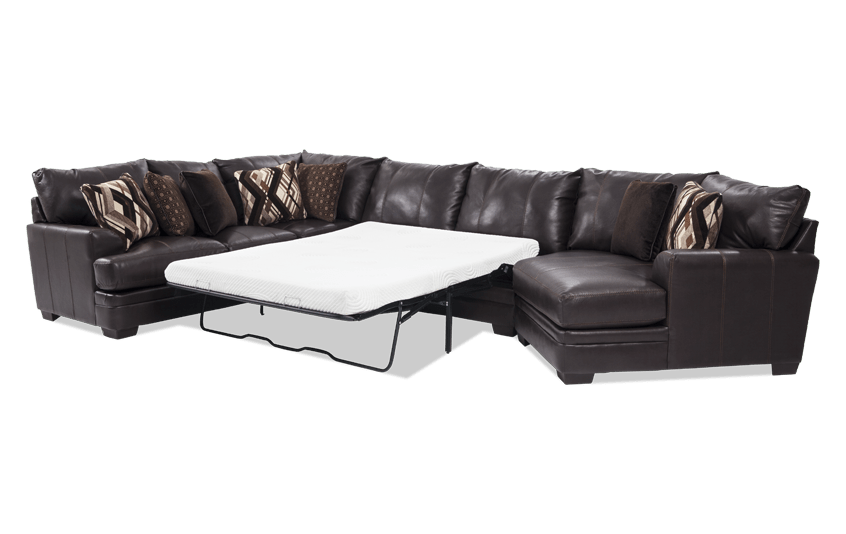 Ritz 4 Piece Queen Bob-O-Pedic Gel Sleeper Sectional with Cuddler Chaise