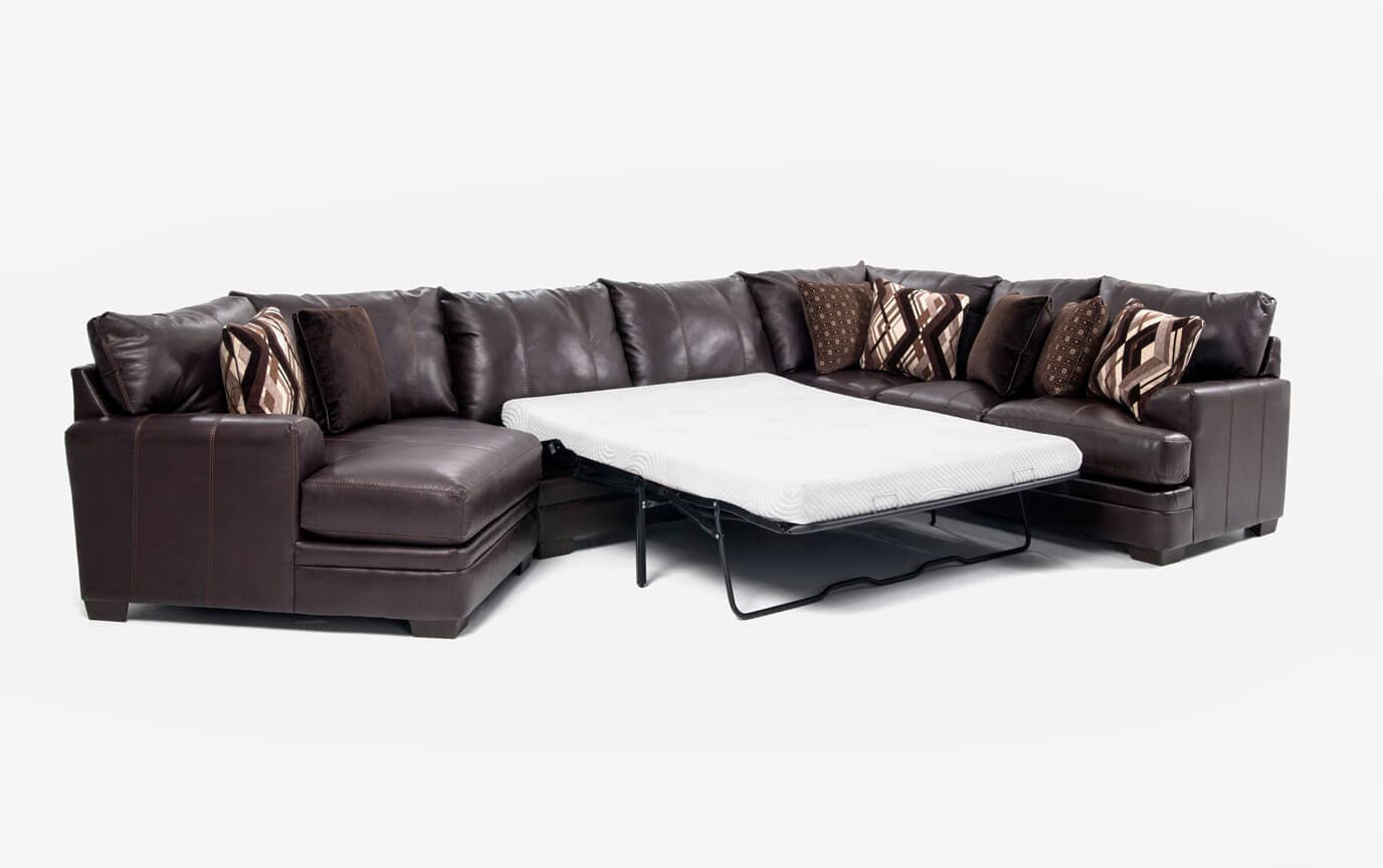 Ritz 4 Piece Bob-O-Pedic Gel Queen Sleeper Sectional with Cuddler Chaise