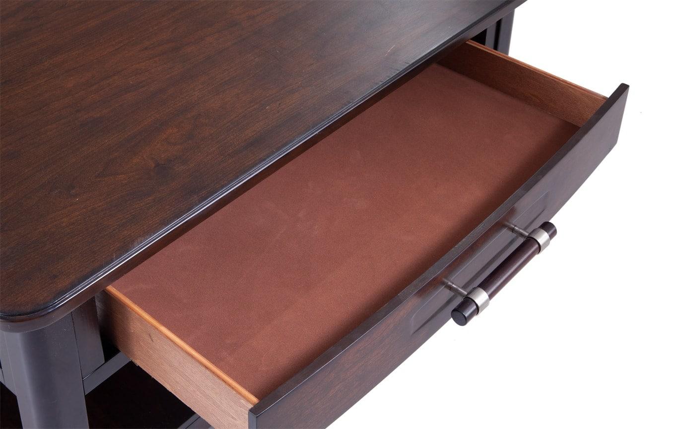 Dream Weaver Cherry & Espresso Square Coffee Table Set