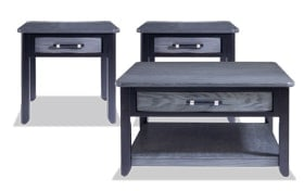 Dream Weaver Gray & Black Square Coffee Table Set