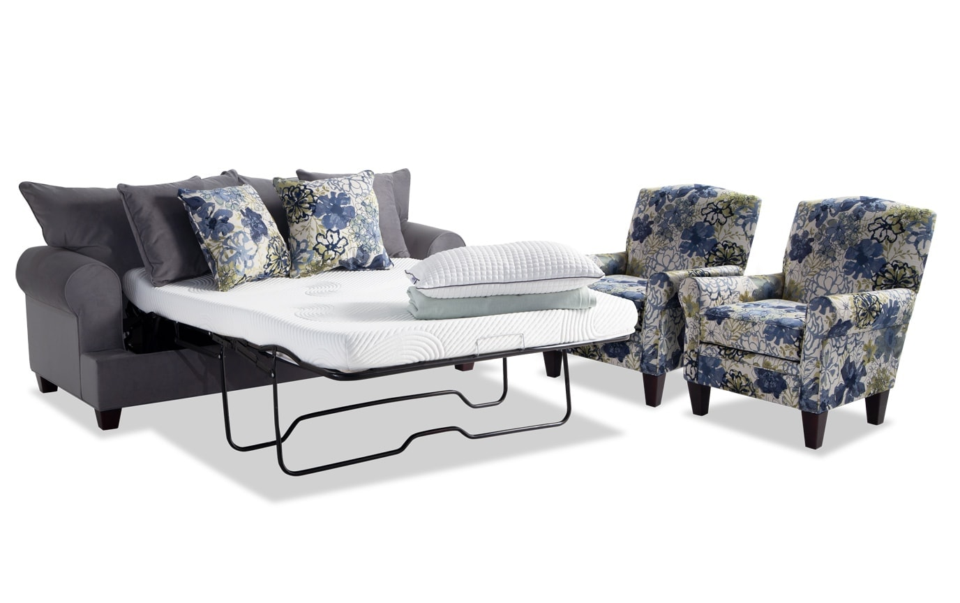 Monica Bob-O-Pedic Full Sleeper Sofa & 2 Accent Chairs