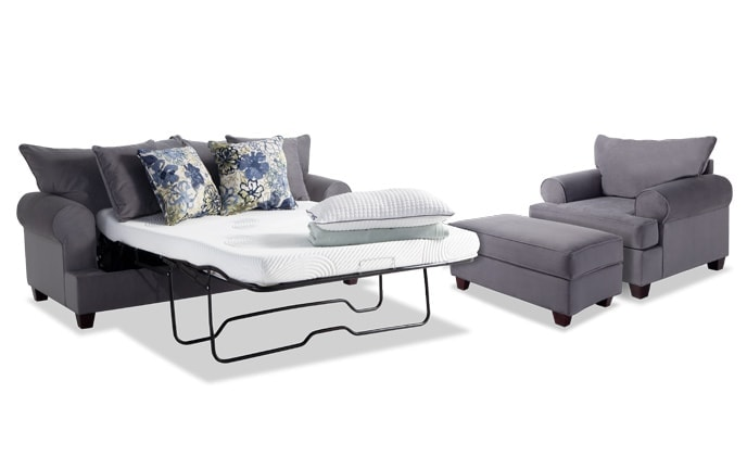 Monica Full Bob-O-Pedic Sleeper Sofa, Chair & Ottoman