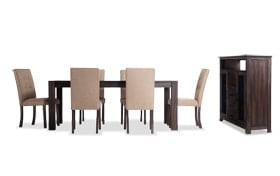 "Summit Wire Brush 42"" x 78"" 8 Piece Dining Set With Server and Upholstered Chairs"