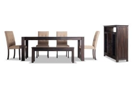 """Summit Wire Brush 42"""" x 78"""" 7 Piece Dining Set with Server & Upholstered Chairs"""
