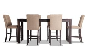 """Summit Wire Brush 42"""" x 78"""" 7 Piece Counter Set with Upholstered Stools"""
