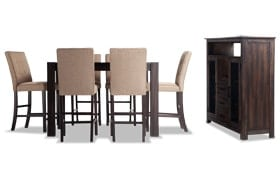 """Summit Wire Brush 54"""" x 54"""" 8 Piece Counter Set With Server & Upholstered Chairs"""