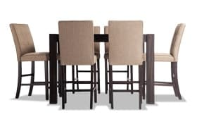 """Summit Wire Brush 54"""" x 54"""" 7 Piece Counter Set with Upholstered Stools"""