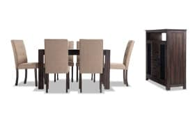 """Summit Wire Brush 54"""" x 54"""" 8 Piece Dining Set With Server & Upholstered Chairs"""