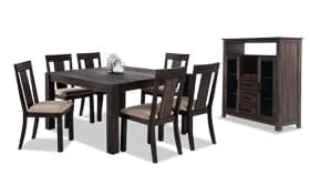 "Summit Wire Brush 54"" x 54"" 8 Piece Dining Set With Server"