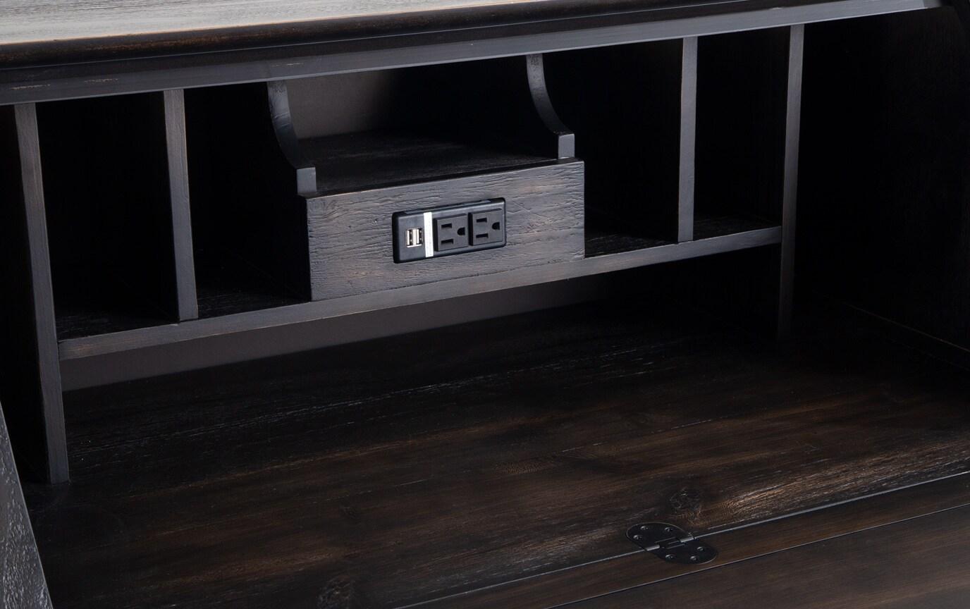 Kona Weathered Black Drop Lid Desk