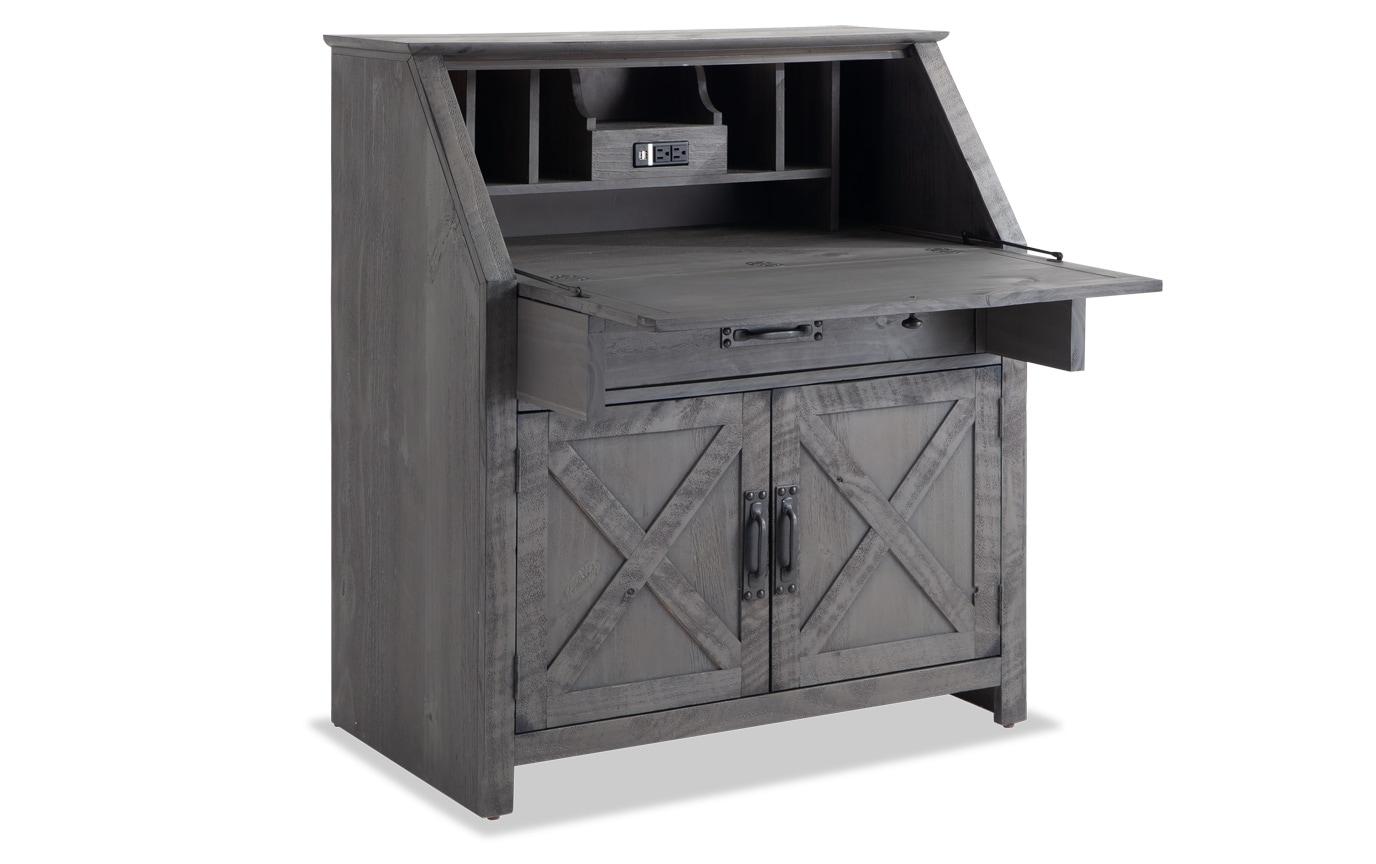 Kona Weathered Gray Drop Lid Desk