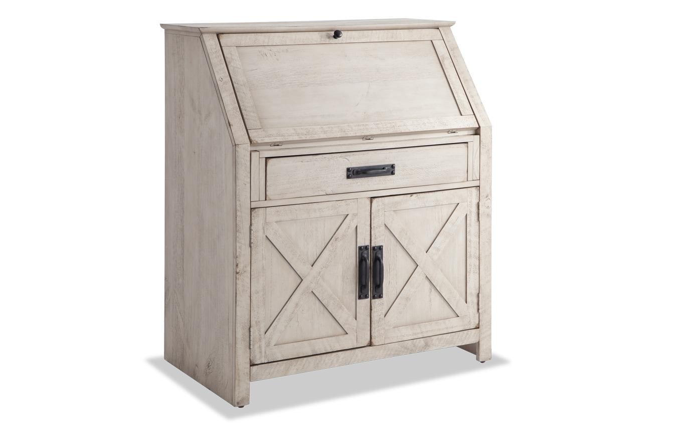 Kona Weathered White Drop Lid Desk