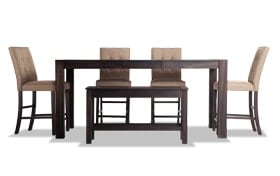 """Summit Wire Brush 42"""" x 78"""" 6 Piece Counter Set with Upholstered Stools"""