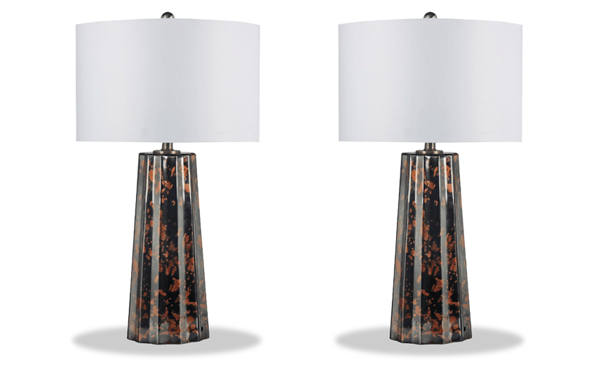 Set of 2 Copper Drip Table Lamps