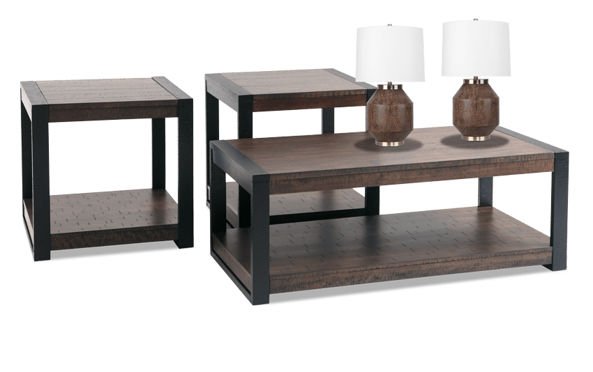 Carson Coffee Table Set with Pair of Ashton Lamps