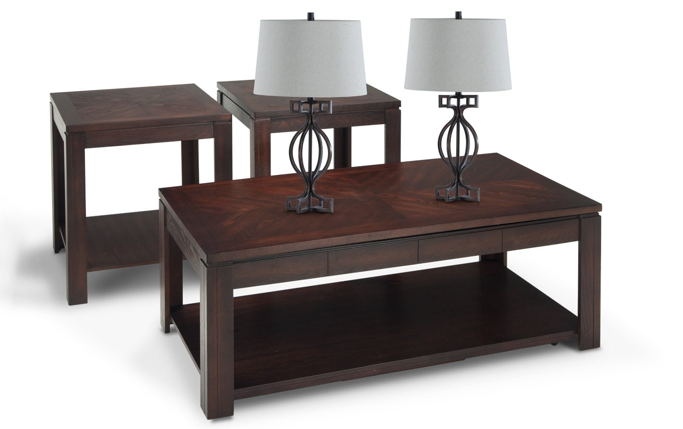 Tracy Coffee Table Set with Pair of Wellington Lamps