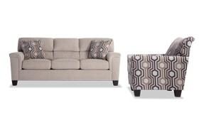 Calvin Almond Beige Sofa & Accent Chair